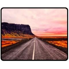 Iceland Sky Clouds Sunset Double Sided Fleece Blanket (medium)