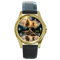 Sunset Dusk Sky Clouds Lightning Round Gold Metal Watch