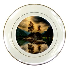 Sunset Dusk Sky Clouds Lightning Porcelain Plates by BangZart