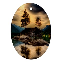 Sunset Dusk Sky Clouds Lightning Oval Ornament (two Sides)