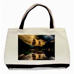 Sunset Dusk Sky Clouds Lightning Basic Tote Bag (two Sides)