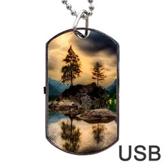 Sunset Dusk Sky Clouds Lightning Dog Tag Usb Flash (one Side)