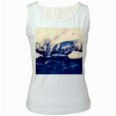 Antarctica Mountains Sunrise Snow Women s White Tank Top