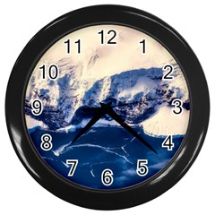 Antarctica Mountains Sunrise Snow Wall Clocks (black) by BangZart