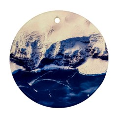 Antarctica Mountains Sunrise Snow Round Ornament (two Sides)