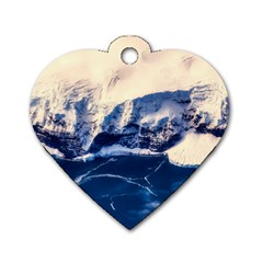 Antarctica Mountains Sunrise Snow Dog Tag Heart (two Sides)