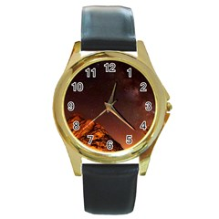 Italy Night Evening Stars Round Gold Metal Watch