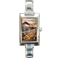 Iceland Mountains Sky Clouds Rectangle Italian Charm Watch