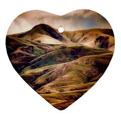 Iceland Mountains Sky Clouds Ornament (heart)