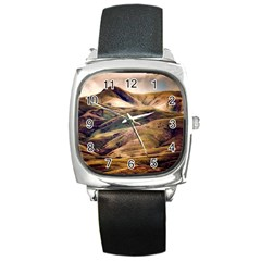 Iceland Mountains Sky Clouds Square Metal Watch by BangZart