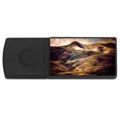 Iceland Mountains Sky Clouds Rectangular Usb Flash Drive