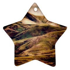 Iceland Mountains Sky Clouds Star Ornament (two Sides)