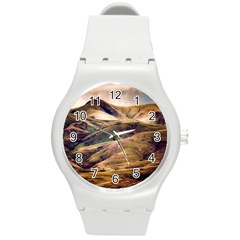 Iceland Mountains Sky Clouds Round Plastic Sport Watch (m) by BangZart