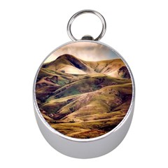 Iceland Mountains Sky Clouds Mini Silver Compasses