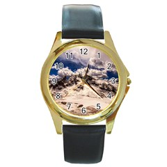 Italy Landscape Mountains Winter Round Gold Metal Watch by BangZart