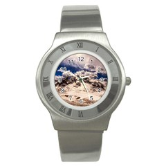 Italy Landscape Mountains Winter Stainless Steel Watch