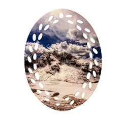 Italy Landscape Mountains Winter Ornament (oval Filigree)