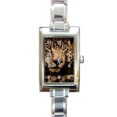 Jaguar Water Stalking Eyes Rectangle Italian Charm Watch