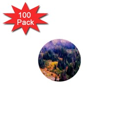 Landscape Fog Mist Haze Forest 1  Mini Buttons (100 Pack)