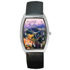 Landscape Fog Mist Haze Forest Barrel Style Metal Watch