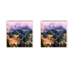 Landscape Fog Mist Haze Forest Cufflinks (square) by BangZart