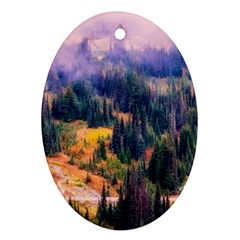Landscape Fog Mist Haze Forest Oval Ornament (two Sides) by BangZart