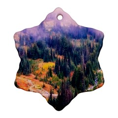 Landscape Fog Mist Haze Forest Snowflake Ornament (two Sides) by BangZart