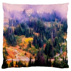 Landscape Fog Mist Haze Forest Large Cushion Case (two Sides) by BangZart
