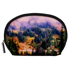 Landscape Fog Mist Haze Forest Accessory Pouches (large)  by BangZart