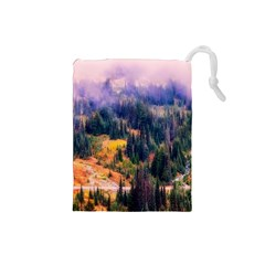Landscape Fog Mist Haze Forest Drawstring Pouches (small)  by BangZart