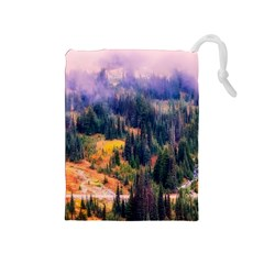 Landscape Fog Mist Haze Forest Drawstring Pouches (medium)  by BangZart