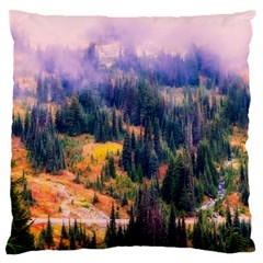 Landscape Fog Mist Haze Forest Large Flano Cushion Case (one Side) by BangZart