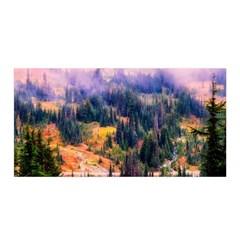 Landscape Fog Mist Haze Forest Satin Wrap