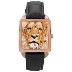 Africa African Animal Cat Close Up Rose Gold Leather Watch