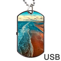 Sea Ocean Coastline Coast Sky Dog Tag Usb Flash (one Side)
