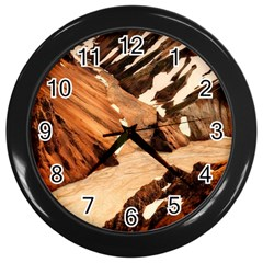 Iceland Mountains Snow Ravine Wall Clocks (black) by BangZart