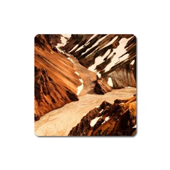 Iceland Mountains Snow Ravine Square Magnet by BangZart