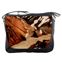 Iceland Mountains Snow Ravine Messenger Bags