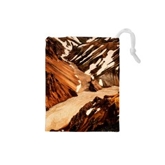 Iceland Mountains Snow Ravine Drawstring Pouches (small)