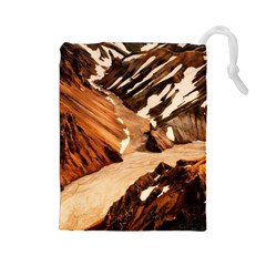 Iceland Mountains Snow Ravine Drawstring Pouches (large)