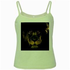 African Lion Mane Close Eyes Green Spaghetti Tank