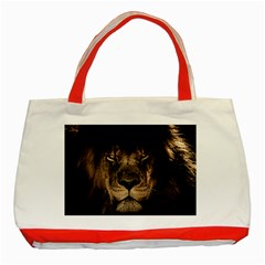 African Lion Mane Close Eyes Classic Tote Bag (red)
