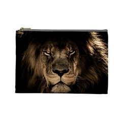 African Lion Mane Close Eyes Cosmetic Bag (large)