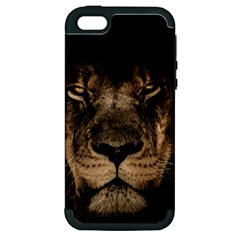African Lion Mane Close Eyes Apple Iphone 5 Hardshell Case (pc+silicone)