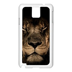 African Lion Mane Close Eyes Samsung Galaxy Note 3 N9005 Case (white)