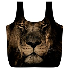 African Lion Mane Close Eyes Full Print Recycle Bags (l)