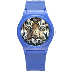 Tiger Bengal Stripes Eyes Close Round Plastic Sport Watch (s)