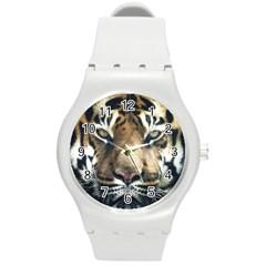 Tiger Bengal Stripes Eyes Close Round Plastic Sport Watch (m) by BangZart