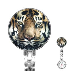 Tiger Bengal Stripes Eyes Close Stainless Steel Nurses Watch