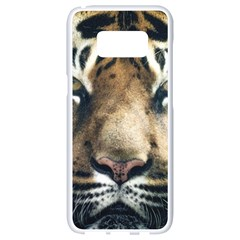Tiger Bengal Stripes Eyes Close Samsung Galaxy S8 White Seamless Case